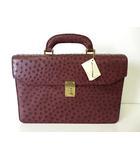 FRANCO PARMEGGIANI フランコパルメジャーニ バッグ オーストリッチ ビジネスバッグ ブリーフケース ボルドー ゴールド金具 レザー かばん 鞄 カバン 美品