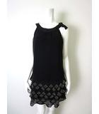 チェスティ Chesty ワンピース ドレス シフォン 段フレア ビーズ装飾 アメリカンスリーブ ノースリーブ 1 S 黒 ブラック