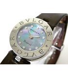 ブルガリ BVLGARI 腕時計 B-zero1 ビーゼロワン 12P ダイヤ BZ22S ブルー シェル文字盤 クオーツ レザー ベルト 電池交換済