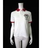キャプテンサンタ CAPTAIN SANTA ポロシャツ 鹿の子 ドライ クレリック ロゴ キャラクター プリント 半袖 白 赤 ゴルフ