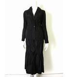 イッセイミヤケ ISSEY MIYAKE スカートスーツ 上下 セットアップ シルク 絹 プリーツ 加工 2-3 黒 ブラック ジャケット ブレザー ロングスカート パーティー ドレス