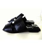 シャネル CHANEL サンダル レザー ココマーク 刺繍 スクエアトゥ 37 黒 ブラック 23.5cm 靴 くつ シューズ
