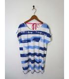 タケオキクチ ミクスパイス TK MIXPICE Tシャツ カットソー チュニック プルオーバー ボーダー柄 半袖 F 白 ブルー 美品