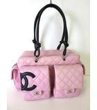 シャネル CHANEL バッグ ショルダーバッグ カンボンライン ボウリングバッグ マルチポケット ココマーク ピンク 黒 レザー キルティング かばん 鞄