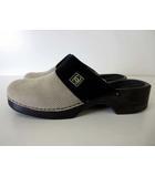 シャネル CHANEL サンダル サボサンダル ココマーク 39 黒 ブラック グレー 24.5cm 靴 くつ シューズ