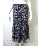 スキャパ SCAPA スカート フレア シルク シフォン 絹100% 水玉ドット柄 ロング 40 L 黒 ブラック グレー 白