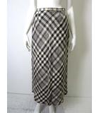 スキャパ SCAPA スカート フレア ロング リネン 麻100% チェック柄 38 M 薄ベージュ グレー