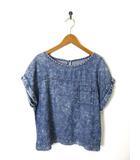 ジーユー GU Tシャツ カットソー テンセル クラッシュ デニム 半袖 M 紺 ネイビー