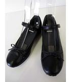 アシックス asics GIRO ジーロ バレエシューズ パンプス ウォーキング シューズ レザー 22.5 EE 幅広 ワイズ 黒 ブラック 靴 くつ アンクルベルト