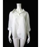 ストロベリーフィールズ STRAWBERRY-FIELDS シャツ スキッパー ストライプ柄 プルオーバー 7分袖 白 美品