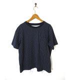グローバルワーク GLOBAL WORK Tシャツ レイヤード シャツ ストライプ柄 半袖 L 紺 ネイビー