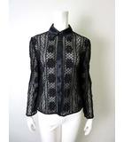 ハーディエイミス HARDY AMIES ブラウス シャツ かぎ針編み レース サテン配色 長袖 9 M 黒 ブラック