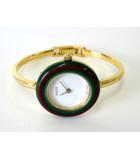 グッチ GUCCI 腕時計 チェンジ ベゼル シェリー ゴールド ブレスレット クオーツ 替えベゼル10色付 電池交換 オーバーホール済