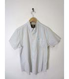 ティンバーランド Timberland シャツ ボタンダウン ストライプ柄 ロゴ刺繍 半袖 L 白 ブルー オレンジ 国内正規品