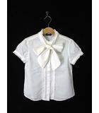 バーバリー BURBERRY ブラウス シャツ ボウタイ ホース刺繍 フリル コットン 半袖 120 白 国内正規品