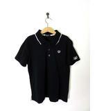 コムサイズム COMME CA ISM ポロシャツ 鹿の子 ロゴ刺繍 ライン 半袖 150 黒 ブラック