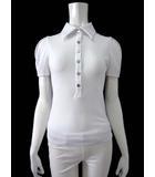 フォクシーニューヨーク FOXEY NEW YORK シャツ ポロシャツ ブラウス 半袖 パフ袖 ストレッチ 38 白 ホワイト ロゴ メタルボタン