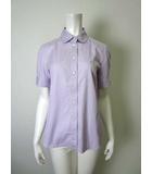 バーバリー BURBERRY シャツ ホース刺繍 ノバチェック柄 コットン 半袖 38 M 紫 ラベンダー 国内正規品
