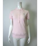 ラコステ LACOSTE ポロシャツ ロゴ ワニ 刺繍 鹿の子 半袖 40 M ピンク 国内正規品
