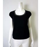 バーバリー BURBERRY Tシャツ カットソー パフスリーブ 半袖 ノバチェック ロゴ 刺繍 ストレッチ S 黒 ブラック
