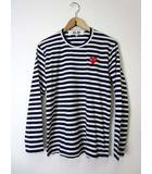 プレイコムデギャルソン PLAY COMME des GARCONS Tシャツ カットソー 長袖 ボーダー ロゴ 刺繍 M 紺 ネイビー 白 ホワイト AD2014