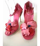 ミュウミュウ miumiu サンダル パンプス ピンヒール ハイヒール 本革 レザー お花 ビジュー 装飾 38.5 ピンク 赤 くつ 靴 シューズ