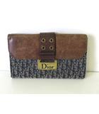 クリスチャンディオール Christian Dior 財布 二つ折り トロッター キャンバス レザー Wホック 紺 ブラウン ゴールド 金具 ロゴ ウォレット