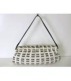 ミュウミュウ miumiu バッグ ハンドバッグ がま口 コットン レザー 白 黒 かばん 鞄 カバン