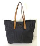 ミュウミュウ miumiu バッグ トートバッグ キャンバス レザー ゴールド ロゴ チャコールグレー キャメル かばん 鞄