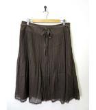 23区 オンワード樫山 スカート プリーツ フレア レース リボン 48 17号 ブラウン 茶 大きいサイズ