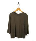 スタディオクリップ Studio Clip Tシャツ カットオフ コットン 7分袖 クルーネック カーキ