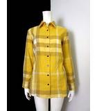 バーバリー BURBERRY シャツ ブラウス チュニック 長袖 ノバチェック 44 黄色 マスタードイエロー 国内正規品 大きいサイズ ビッグサイズ