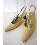 サルヴァトーレフェラガモ Salvatore Ferragamo パンプス ミュール サンダル バックベルト レザー 6.5 C アイボリー クリーム色 くつ 靴 シューズ