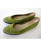 サルヴァトーレフェラガモ Salvatore Ferragamo スリッポン フラットシューズ 本革 レザー 4.5 モスグリーン 緑 22.0cm くつ 靴 シューズ 小さいサイズ
