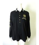 バレンザポースポーツ VALENZA PO SPORTS ポロシャツ ロゴ ワッペン 刺繍 鹿の子 コットン 長袖 40 L 黒 ブラック