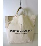 グローバルワーク GLOBAL WORK バッグ トートバッグ ショルダーバッグ ロゴ プリント 生成り ベージュ かばん 鞄 カバン