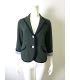 プードゥドゥ POU DOU DOU ジャケット ニット ブレザー パイピング 7分袖 M 緑