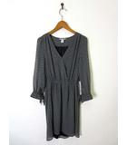 エイチ&エム H&M ワンピース フレア シフォン カシュクール 総柄 パターン柄 7分袖 XS 黒 ブラック 白
