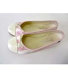 シャネル CHANEL シューズ バレエシューズ フラットシューズ ココマーク エナメル サテン 36.5 C 白 ピンク クリーム色 くつ 靴