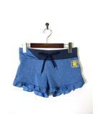 ジーフィット G-FIT ショートパンツ フリル ロゴ プリント M ブルー 美品 フィットネス トレーニングウエア ジム ダンス ランニング