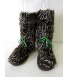 ヒステリックミニ Hysteric MINI ブーツ ファーブーツ レザーリボン 24.0 ブラウン 白 グリーン くつ 靴 シューズ