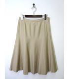バーバリー BURBERRY スカート フレア シルク ウール 絹 40 L ベージュ 国内正規品