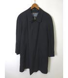 ランバン LANVIN コート シルク 絹 100% ステンカラー ウール ライナー付 M 紺 ネイビー ビジネス 通勤 長袖