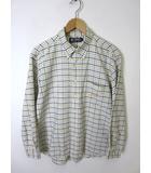 チャップス CHAPS ラルフローレン シャツ ボタンダウン チェック ロゴ 刺繍 長袖 L オフ白 紺 水色 国内正規品