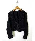 ベルメゾン BELLE MAISON REBONDIR ジャケット ニット 編み コットン パイピング 長袖 M 黒 ブラック