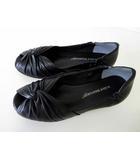 water massage ウォーターマッサージ パンプス レザー シューズ オープントゥ 24.5 黒 ブラック くつ 靴