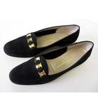 サルヴァトーレフェラガモ Salvatore Ferragamo ローファー パンプス ヴァラリボン スエード レザー 7.5 B 黒 ブラック ゴールド くつ 靴 シューズ