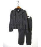 ヒロココシノ HIROKO KOSHINO 上下セットアップ パンツ スーツ フリル配色 ピンストライプ柄 レザー使い 40 L チャコールグレー