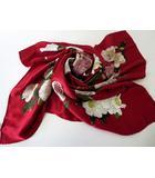 シャネル CHANEL スカーフ 大判 ストール 絹 シルク カメリア 花柄 ロゴ 椿 赤 レッド ピンク イタリア製