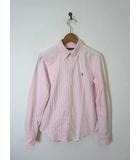 ラルフローレン RALPH LAUREN シャツ ポニー刺繍 ストライプ柄 ボタンダウン コットン 長袖 S ピンク 白 国内正規品